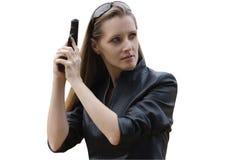 Kvinnan med en pistol Arkivbild