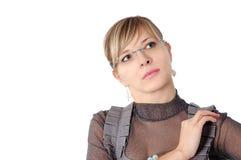 Kvinna i exponeringsglas Fotografering för Bildbyråer