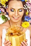 Nära övre smink med blomman. Royaltyfria Bilder