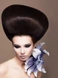 Den unga härliga kvinnabrunetten med görar perfekt glansigt brunt hår. Glamour arkivbilder