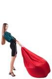 Kvinnan med hänger lös Arkivfoto