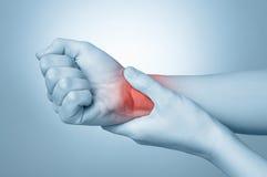 Kvinnan med handleden smärtar arkivbilder
