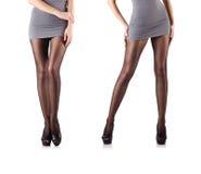 Kvinnan med högväxta ben som isoleras på vit Fotografering för Bildbyråer