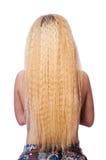 Kvinnan med långt hår på vit Royaltyfri Bild