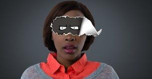 Kvinnan med sönderrivet papper på ögon och tecknad film synar royaltyfria foton