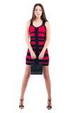Kvinnan med shopping hänger lös Royaltyfri Foto