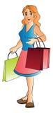 Kvinnan med shopping hänger lös, illustrationen Arkivfoto