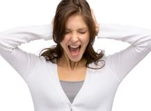 Kvinnan med stängda ögon stänger henne öron arkivbild