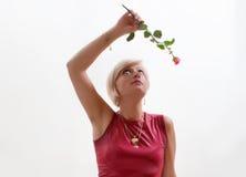 Kvinnan med steg Arkivfoton