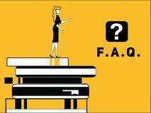 Kvinnan med vanligt frågar fråga royaltyfri illustrationer