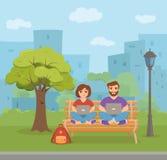 Kvinnan och män för Freelancer som parkerar den lyckliga unga arbetar på bänken in royaltyfri illustrationer