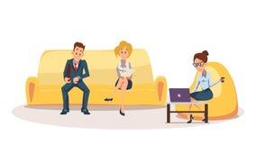 Kvinnan på Bean Bag Chair, anställd sitter på soffan vektor illustrationer