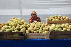 Kvinnan på marknaden med äpplen royaltyfri fotografi