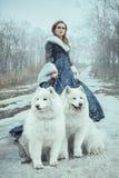 Kvinnan på vinter går med en hund royaltyfria bilder