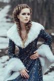 Kvinnan på vinter går med en hund Arkivfoto