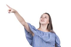 Kvinnan pekar ett finger från sidan och up arkivfoton