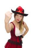 Kvinnan piratkopierar isolerat Royaltyfri Bild