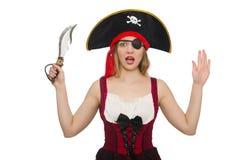 Kvinnan piratkopierar isolerat Royaltyfri Fotografi