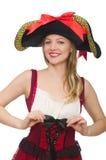 Kvinnan piratkopierar isolerat Royaltyfria Bilder