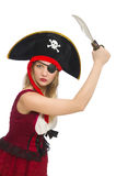 Kvinnan piratkopierar isolerat Arkivfoton