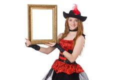 Kvinnan piratkopierar med den isolerade bildramen Royaltyfri Foto