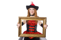 Kvinnan piratkopierar med den isolerade bildramen Royaltyfri Fotografi