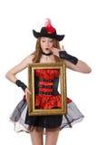 Kvinnan piratkopierar med den isolerade bildramen Fotografering för Bildbyråer
