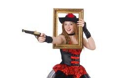 Kvinnan piratkopierar med vapnet Arkivfoton