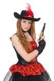 Kvinnan piratkopierar med vapnet Arkivfoto