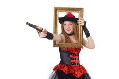 Kvinnan piratkopierar med vapnet och bilden Fotografering för Bildbyråer