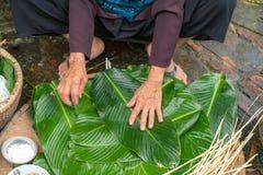 Kvinnan räcker att förbereda sig att göra Chung Cake, den vietnamesiska mån- Tet för det nya året maten Arkivfoton