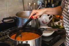 Kvinnan räcker matlagningragu med tomater och grönsaker i kök arkivbilder