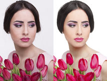 Kvinnan retuscherar före och efter Royaltyfri Fotografi