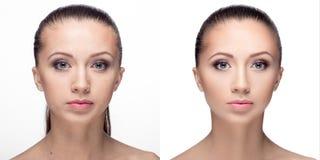 Kvinnan retuscherar före och efter Fotografering för Bildbyråer