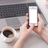 Kvinnan rymmer den vita telefonen för smartphonen i arbetsplatsen i rummet Kvinna som använder en mobiltelefon för arbete Fotografering för Bildbyråer