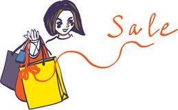 Kvinnan rymmer illustrationen för vektorn för försäljningar för shoppingpåsar stock illustrationer
