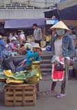 Kvinnan säljer jackfruits på gatamarknaden i ton, Vietnam royaltyfri bild