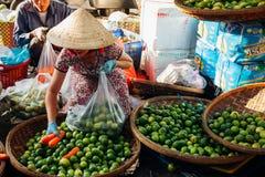 Kvinnan säljer vegs på morgonmarknaden, Nha Trang, Vietnam fotografering för bildbyråer