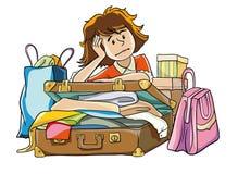 Kvinnan sätter resväskan Fotografering för Bildbyråer