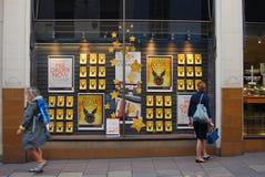 Kvinnan ser fönsterskärm i bokhandel i Norwich, England Royaltyfria Foton