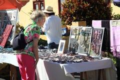 Kvinnan ser smycken Arkivbild