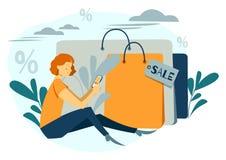 Kvinnan shoppar Härlig flicka med packarna innegrej online shoping Vektorillustration, tecknad filmstil stock illustrationer