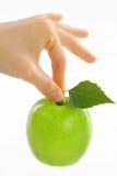Kvinnan som är kvinnlig räcker taken det gröna äpplet med leafen Royaltyfri Foto