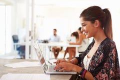 Kvinnan som använder bärbara datorn i modernt kontor av, startar upp affär Arkivbilder