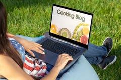 Kvinnan som arbetar på bärbar datorPCdatoren med med hennes kulinariska blogg som in sitter, parkerar på solskengräsmatta för grö royaltyfria foton