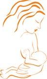 Kvinnan som breastfeeding henne, behandla som ett barn Royaltyfri Bild