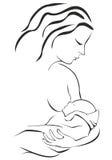 Kvinnan som breastfeeding henne, behandla som ett barn Arkivfoto