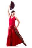Kvinnan som dansar traditionell spanjor, dansar isolerat på vit arkivbild