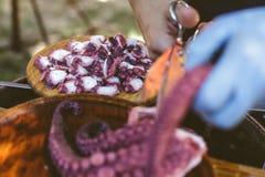Kvinnan som förbereder plattan av galicianstil, lagade mat bläckfisken gallega lapulpo Arkivbild