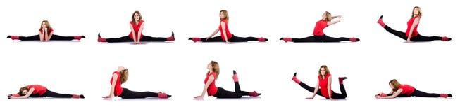 Kvinnan som gör övningar på vit Royaltyfria Bilder